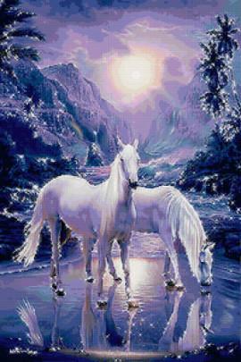 белые лошади зима