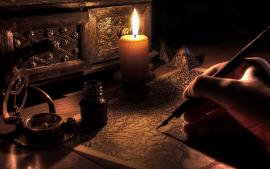 перо бумага свеча